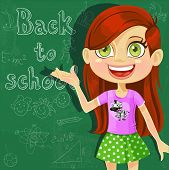 Banner - Back to school - cute little girl at the board