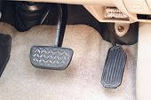 stock photo of pedal  - Brake pedal and accelerator pedal of  car - JPG