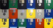 Many Computer Floppy Disks Arranged As A Pattern