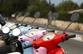 stock photo of vespa  - A line of mopeds - JPG