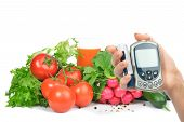 Diabetes Concept Glucometer And Healthy Food