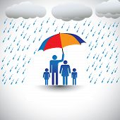 Father Protecting Family From Heavy Rain With Umbrella. The Graphic Represents Father Holding A Colo