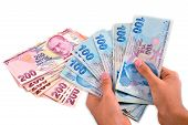foto of turkish lira  - hundred and two hundred Turkish Lira white background - JPG