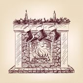 Christmas fireplace  hand drawn