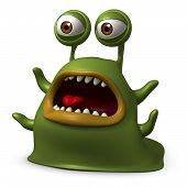 stock photo of slug  - 3 d cartoon cute Green Slug Monster - JPG