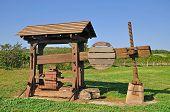 stock photo of wine-press  - historic Wine Press in Burgenland near Lake Neusiedl - JPG