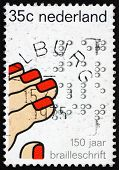 Postage stamp Netherlands 1975 Fingers Reading Braille