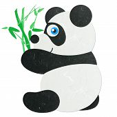Rice Paper Cut Cute Little Panda With Bamboo