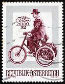 Selo postal Áustria 1974 De Dion Bouton triciclo