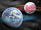Illustration of space background with planets and stars