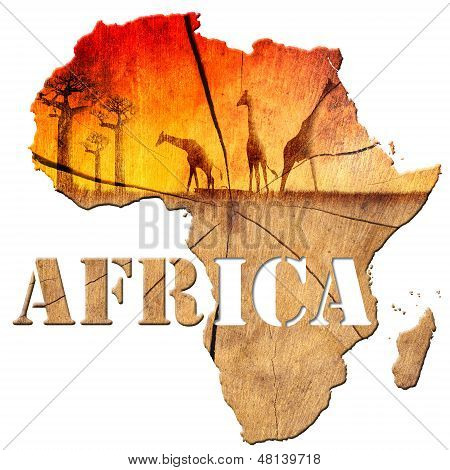 Africa Map Wooden Illustration poster