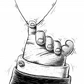 pic of pinky  - A large cartoon hand hangs on to a tiny thread using its pinky finger - JPG