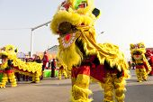 YU COUNTY CHINA  FEBRUARY 5: People performing traditional lion dance for celebrating Lantern Festiv