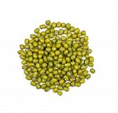 Heap of mung beans on a white background