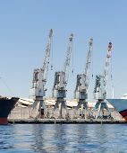 Row of four cranes in Eilat harbor Israel