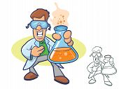foto of wacky  - Illustration of a smiling chemist wearing a lab coat and holding a beaker full of bubbly liquid - JPG