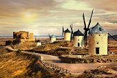 pink sunset over Cosuegra windmills