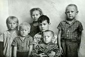 MOSCOW, USSR, CIRCA  1946: Antique photo, portrait of a six children, circa 1946