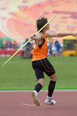 DONETSK, UKRAINE - JULY 11: Loek van Zevenbergen, Netherlands in the semi-final of javelin throw competition in Octathlon during 8th IAAF World Youth Championships in Donetsk, Ukraine on July 11, 2013