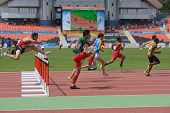 DONETSK, UKRAINE - JULY 11: 110 metres Hurdles competition during 8th World Youth Championships in D
