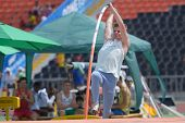 DONETSK, UKRAINE - JULY 12: Luka Jereb of Slovenia competes in Pole Vault during 8th IAAF World Yout