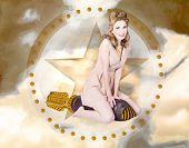 pic of bombshell  - Antique design portrait of a hot retro pin - JPG