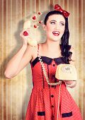 image of long distance relationship  - Grunge photograph of a smiling beautiful pinup woman talking about love on a retro phone - JPG