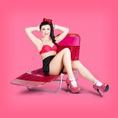 Pink Pin-up Model On Summer Vacation
