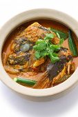 fish head curry, singaporean cuisine, on white background