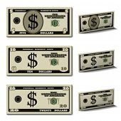 stock photo of twenty dollar bill  - vector five ten twenty dollar banknotes - JPG