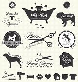 stock photo of scissors  - Collection of pet grooming shop labels and icons for dogs and cats - JPG