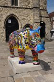 SOUTHAMPTON UK - 15 JULY 2013 - locally decorated Rhino sculptures on display in Southampton to rais