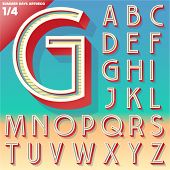 Vector retro alphabet for Summer typography design. Art Deco style. Upper cases