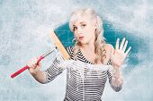 picture of suds  - Creative pinup portrait of an attractive young housewife cleaning glass shower door with white soap suds and squeegee - JPG