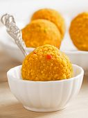 pic of laddu  - close up of traditional indian laddoo sweets - JPG