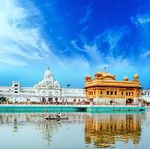 Sikh golden palace in India. Indian temple