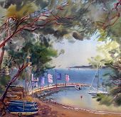 Watercolor Painting Landscape Of Cote D'azur, France.