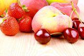 Platt Peach, Cherries, Strawberries, Apples And Mango