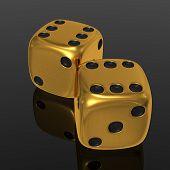 Golden Dices On Balck