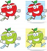 Healthy Apples Cartoon Character Jogging. Collection