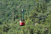 The image of a mountain cable car