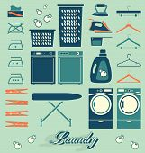 stock photo of laundromat  - Collection of retro style laundry room symbols and icons - JPG
