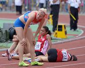 DONETSK, UKRAINE - JULY 14: Girls after finish in the final of 2000 metres steeplechase during 8th I