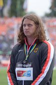 DONETSK, UKRAINE - JULY 14: Silver medalist in discus throw Henning Prufer of Germany on medal ceremony during 8th IAAF World Youth Championships in Donetsk, Ukraine on July 14, 2013
