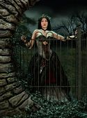 image of chokers  - 3d computer graphics of a woman with a gothic fantasy gown and a wreath on her head - JPG