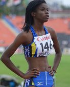 DONETSK, UKRAINE - JULY 13: Tia-Adana Belle of Barbados before the start in the final of 400 metres