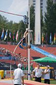 DONETSK, UKRAINE - JULY 14: Tomas Wecksten of Finland competes in the final in pole vault during 8th IAAF World Youth Championships in Donetsk, Ukraine on July 14, 2013