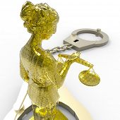 image of handlock  - Themis statue and handcuffs over white background - JPG