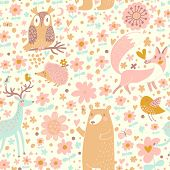 Forest wallpaper with bear, owl, fox, deer, bird and hedgehog in childish cartoon style.Seamless pat