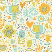 Cute vector characters in flowers. Bright romantic background with childish robots and flowers. Seam